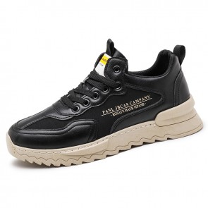 Trendy Elevator Walking Shoes Increase 2.4 inch / 6 cm Black Breathable Hidden Lift Fashion Sneakers