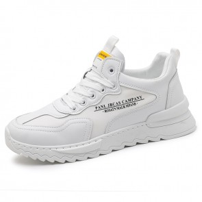 Trendy Height Increasing Walking Shoes for Men Add 2.4inch / 6 cm White Breathable Elevated Fashion Sneakers