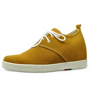 Yellow men increasing casual shoes get taller 7cm / 2.75inches