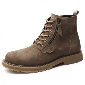 Khaki Cowhide Men Taller Martin Boots Add 7cm / 2.8inch Lace Up Side Zip Hidden Height Chukka Boot