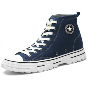 Hidden Lift High Top Canvas Shoes Add Height 2.4 inch / 6 cm Blue Lace Up Classic Fashion Plimsolls