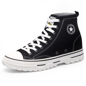 Classic Elevator High Top Canvas Shoes Add Taller 2.4 inch / 6 cm Black Lace Up Lift Fashion Plimsolls