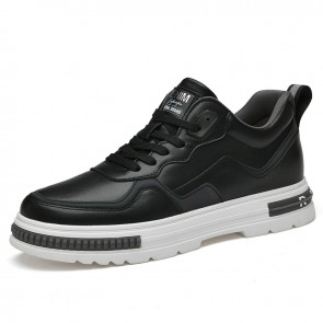 Daily Skateboarding Shoes Add Height Black Leather Elevator Fashion Sneakers Look Taller 2.8inch / 7cm