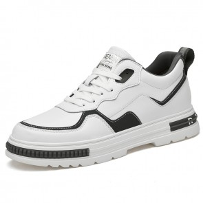 Daily Skateboarding Shoes Add Taller White Leather Lift Fashion Sneakers Increase Height 2.8inch / 7cm