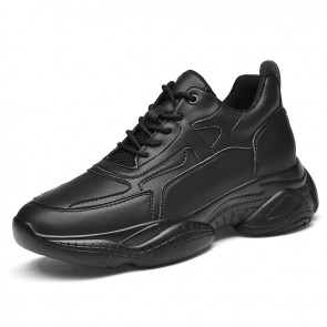 Unisex Hidden Height Chunky Sneakers Get Tall 3.2 inch / 8 cm Black Leather Elevator Dorky Dad Shoes