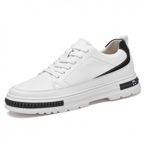 Height Increasing Walking Shoes Add Tall 2.4 cm / 6 cm White Leather Lace Up Fashion Trainers