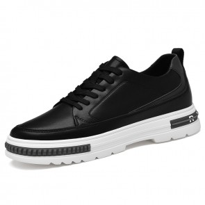 Black Elevator Walking Shoes for Men Add Height 2.4 cm / 6 cm Black Leather Lace Up Fashion Trainers