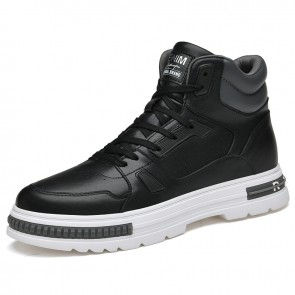 Everyday High Top Skateboarding Shoes Add Altitude 2.8 inch / 7 cm Black Leather Fashion Sneakers