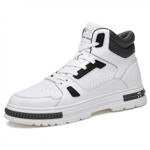 White High Top Skateboarding Shoes Gain Taller 2.8 inch / 7 cm Leather Fashion Sneakers