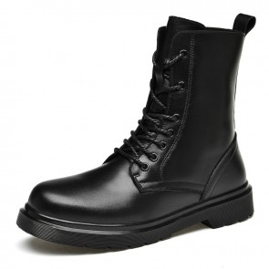 Hidden Height Men Combat Boots Elevator Lace Up Boots Increase Taller