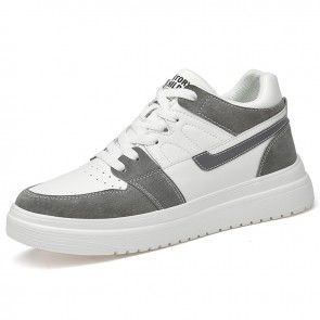 Fashion Mid Cut Lift Sneakers  Make You Taller 3 inch / 7.5 cm DarkGray Leather Unisex Skate Shoes