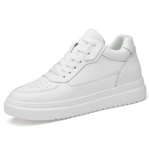 Elevator White Unisex Skate Shoes Increase Height 3 inch / 7.5 cm Perforated Leather Sneakers