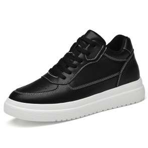 Black Elevator Unisex Skate Shoes Make You Look Taller 3 inch / 7.5 cm Perforated Leather Sneakers