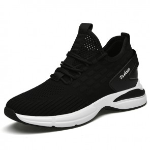 Elevator Minimalist Sneakers Make You Taller 3 inch / 7.5 cm Black Soft Flyknit Workout Shoes
