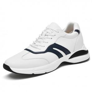 Hidden Heel Lift Versatile Walking Shoes Taller 2.8 inch / 7cm White Leather Elevator Workout Sneakers