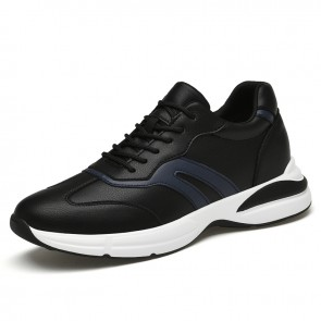 Hidden Taller Versatile Walking Shoes for Men Add Height 2.8 inch / 7 cm Black Leather Elevator Workout Sneakers