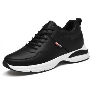 Fresh Hidden Lift Men Trainers Increase 2.8 inch / 7 cm Black Leather Lace Up Casual Walking Shoes