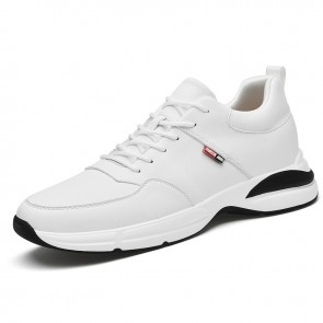Fresh Elevator Men Trainers Add Taller 2.8 inch / 7 cm White Leather Lace Up Casual Walking Shoes