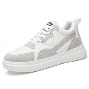 Elevator Mid Top Skateboarding Shoes Add Taller 3 inch / 7.5 cm Trendy LightGray Lightweight Versatility Sneakers