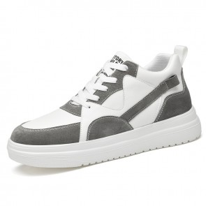 Lift Mid Top Skateboarding Shoes Add Height 3 inch / 7.5 cmDark Gray Lightweight Elevator Versatility Sneakers