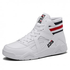 White Hidden Lift Men Skate Shoes Increase 3.2inch / 8cm Elastic Belt High Top Casual Sneakers