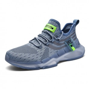Grey Elevated Flyknit Sneakers for Men Add Taller 2.4 inch / 6 cm Shock Absorbing Walking Running Shoes