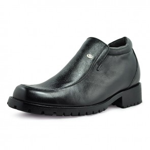 Calf leather upper ankle boots for men height increasing elevator boots 9 cm / 3.54 inch