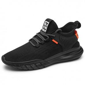 Fashion Hidden Lift Minimalist Sneakers Add Taller 2.4 inch / 6 cm Black Flyknit Elevator Workout Shoes