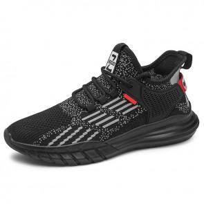 Fashion Hidden Taller Minimalist Sneakers for Men Boost 2.4 inch / 6 cm Gray Flyknit Elevator Workout Shoes