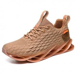 Khaki Fish Scales Hidden Lift Sneakers for Men Get Taller 2.8inch / 7cm Soft Lightweight Flyknit Jogging Shoes