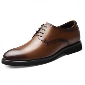 Best Taller Groom Wedding Shoes Brown Cowhide Formal Dress Shoes Increase Height 2.4 inch / 6 cm