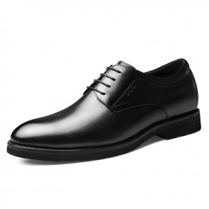 Best Elevator Groom Wedding Shoes Black Cowhide Formal Dress Shoes Increase Taller 2.4 inch / 6 cm