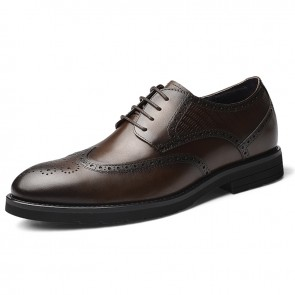 Height Elevator Brogue Tuxedo Shoes Brown Business Taller Men Derbies Increase 2.4 inch / 6 cm