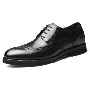 Height Increasing Brogue Tuxedo Shoes Black Business Elevator Derbies Add Taller 2.4 inch / 6 cm