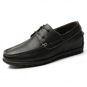 Retro Elevator Boat Shoes for men Taller 2.2inch / 5.5cm Black Soft Leather Lace Up Heighten Shoes