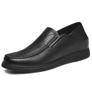 2019 Slip On Elevator Business Shoes for Men Increase 2.4inch / 6cm Soft Leather Stitched Casual Slipper