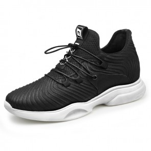 2019 Lightweight Elevator Sneakers for Men Increase 2.6inch / 6.5cm Black Mesh Street Running Shoes