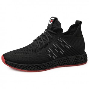 2019 Lace Up Elevator Flyknit Sneakers for Men Increase Taller 2.4inch / 6cm Comfortable Jogging Shoes