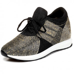 Extra height flyknit racer shoes elevator sneakers 10cm / 4inch Gold