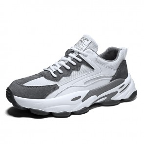 Height Elevator Running Walking Shoes Grey Chunky Sneakers Increase 2.8inch / 7cm