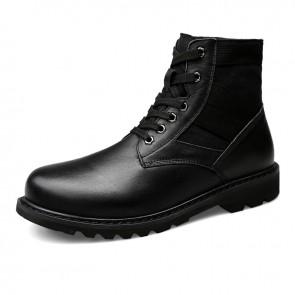 Black Height Increasing Chukka Boots for Men Taller 2.4 inch / 6 cm Hidden Heel Lift Fashion Casual Boot