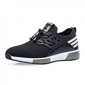 Breathable Elevator Sneakers Get Height 2.8inch / 7cm Black Taller Tennis Shoes