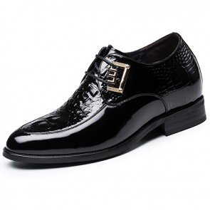 Black patent leather tuxedo height elevator shoes 2.8inch / 7cm Luxury