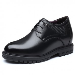 Best 4 inch Elevator Shoes Black Soft Premium Leather Height Increasing Wedding Shoes Boost Taller 10cm
