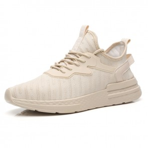 Relaxed Hidden Lift Flyknit Trainers Increase Height 2.4inch / 6cm Beige Strecth Fabric Running Shoes