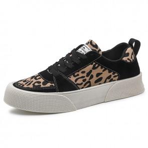 Street Hidden Lift Platform Sneakers Add Taller 2 inch / 5 cm Brown Trendy Low Top Canvas Skate Shoes