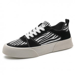 Street Elevator Platform Sneakers Increase 2 inch / 5 cm White Trendy Low Top Canvas Skate Shoes