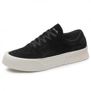 Black Suede Skate Shoes Add 2 inch / 5 cm Low Top Height Increasing Hard Toe Platform Sneakers
