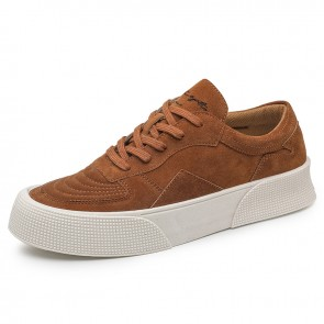 Low Top Skateboard Shoes for Men Boost 2 inch / 5 cm Brown Suede Height Elevator Hard Toe Platform Sneakers
