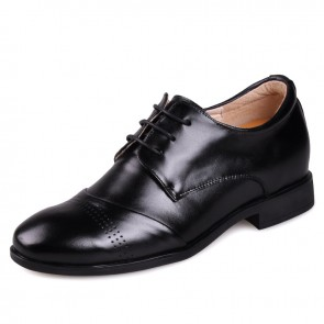 Comfort Oxfords Elevator Shoes Black Calf Leather Dress Formal Shoe Tall 6cm / 2.5Inches